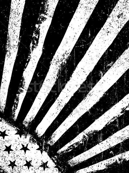 Stars and Rays. Monochrome Negative Photocopy American Flag Back Stock photo © pashabo