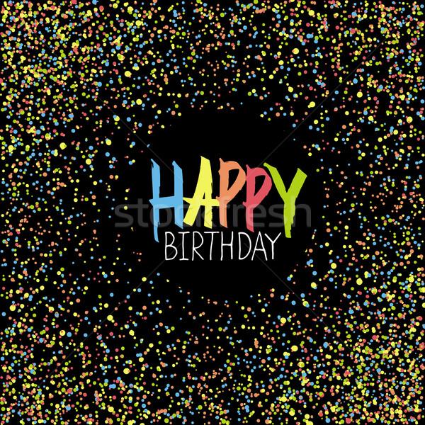 Alles Gute zum Geburtstag Gruß farbenreich chaotischen schwarz Papier Stock foto © pashabo