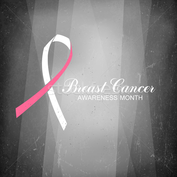 Ribbon of Breast Cancer on abstract film noir background. Stock photo © pashabo