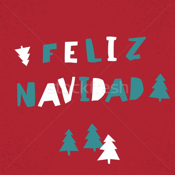 Feliz Navidad. Vector Merry Christmas card template in spanish l Stock photo © pashabo