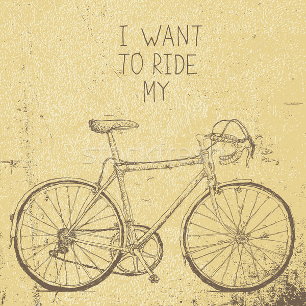 Bicycle vintage poster. I want to ride my bicycle vector illustr Stock photo © pashabo