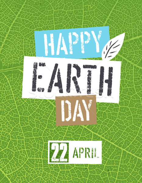 Happy Earth Day Logotype. On green leaf veins texture Stock photo © pashabo