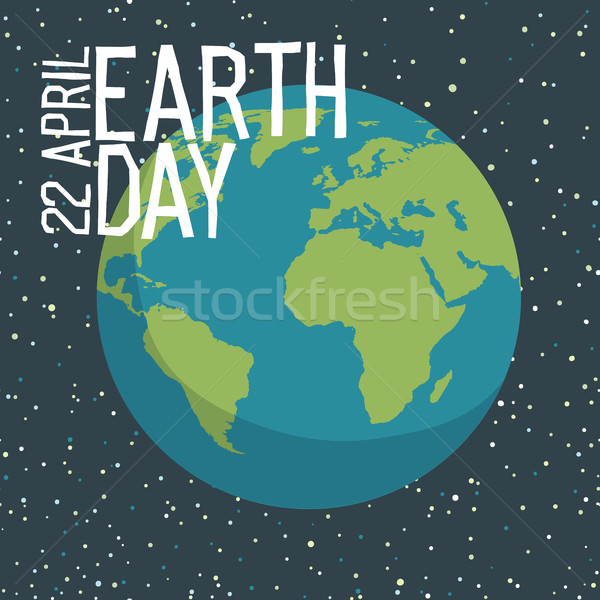 Earth day poster design in flat style. Planet in space backgroun Stock photo © pashabo