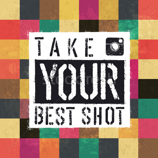 Take your best shot. Colorful aged squares. Grunge layers can be Stock photo © pashabo