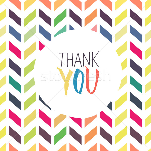 Thank you card with chevron colorful background Stock photo © pashabo