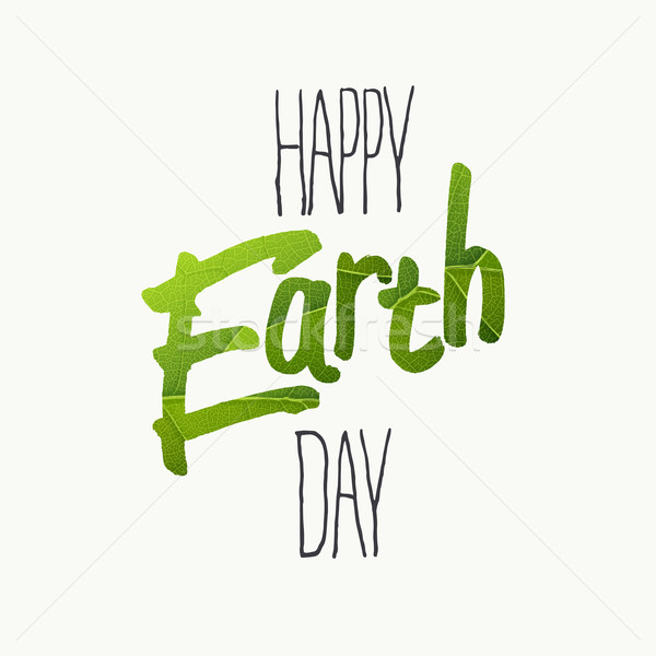 Happy Earth Day Typography. With green leaf veins texture. Templ Stock photo © pashabo