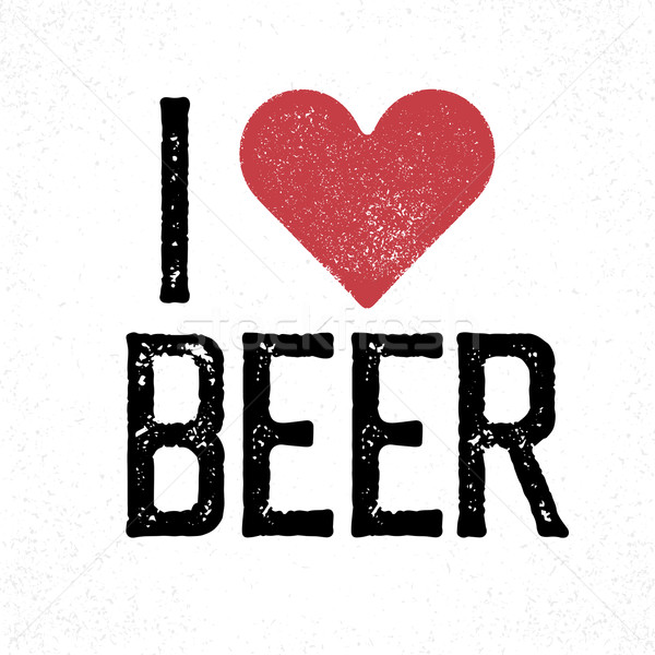 'I love beer' lettering. Print template for poster, card, t-shir Stock photo © pashabo