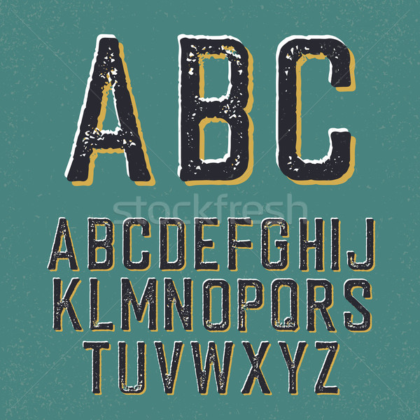 Vintage retro typeface. Stamped alphabet, with shadow Stock photo © pashabo