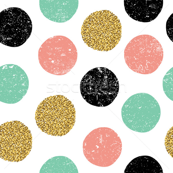 gold, green and black dots. Seamless textured pattern on white b Stock photo © pashabo