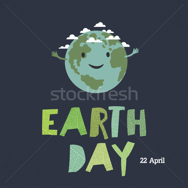 Earth day, 22 April. 'Save our home'. Cartoon Earth illustration Stock photo © pashabo