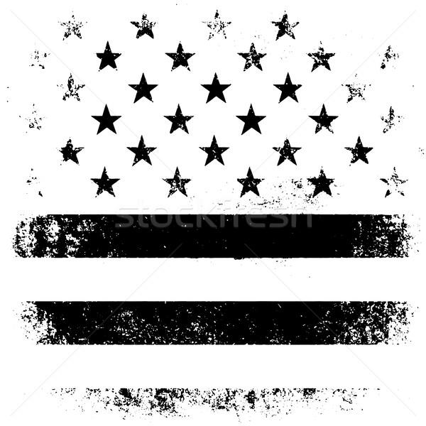 Zdjęcia stock: Amerykańską · flagę · grunge · czarny · czarno · białe · projektu