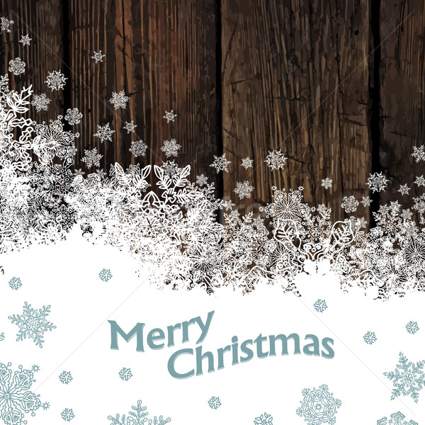 Merry Christmas Design On Hardwood Planks Texture. Vector Stock photo © pashabo