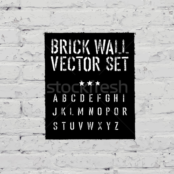Baksteen textuur stencil alfabet grunge rechthoek Stockfoto © pashabo