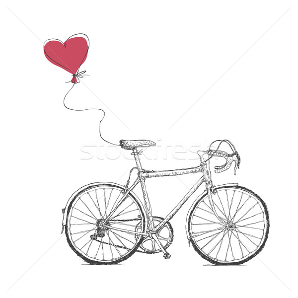 Vintage Valentines Illustration with Bicycle and Heart Baloon Stock photo © pashabo