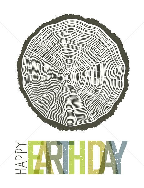 Happy Earth Day Design Concept. Tree rings symbolic illustration Stock photo © pashabo