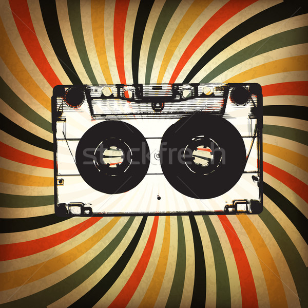 Grunge music background. Audio cassette illustration on rays Stock photo © pashabo