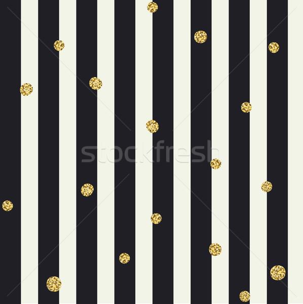 Chevron seamless pattern. Black bold lines and golden dots Stock photo © pashabo