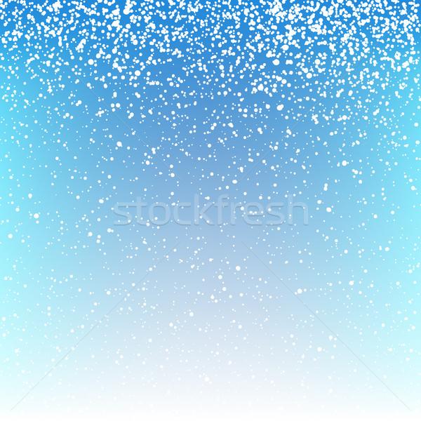 Noel kar yağışı ışık arka plan mavi model Stok fotoğraf © pashabo