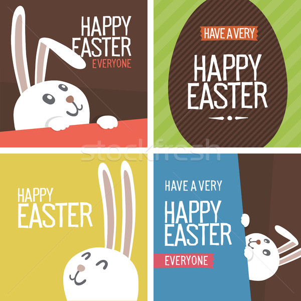 Szett kellemes húsvétot képeslapok tojások nyuszi húsvét Stock fotó © pashabo