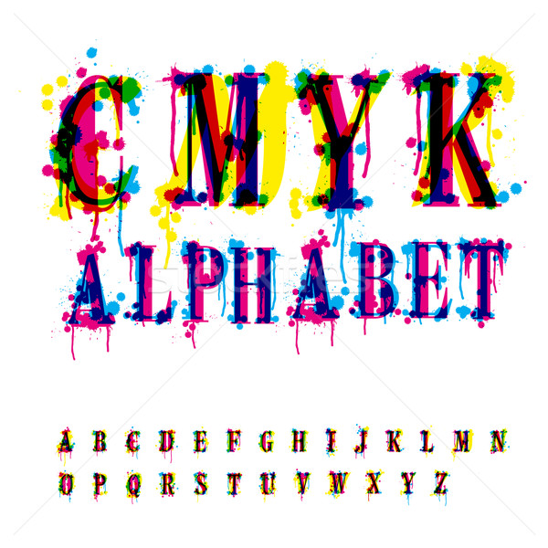 CMYk alphabet. Composition from unrecognized different letters a Stock photo © pashabo