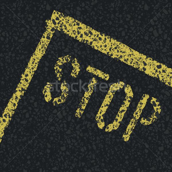 ストックフォト: 一時停止の標識 · 道路 · ベクトル · 通り · 塗料 · にログイン