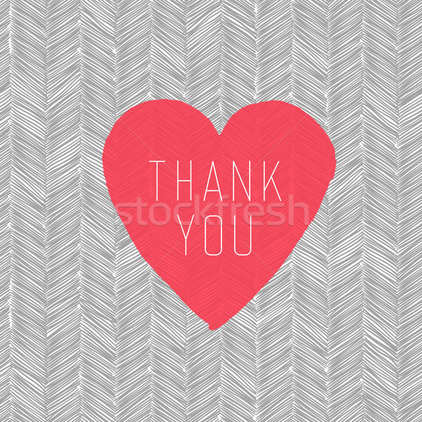 'Thank You' Card with Heart Symbol on  Hand Drawn Pattern Stock photo © pashabo