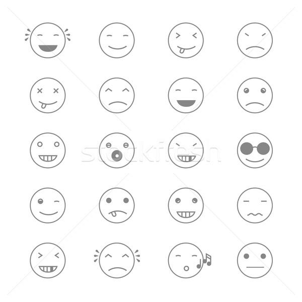 Emoticons Collection. Set of Emoji. Flat monochrome style. Diffe Stock photo © pashabo