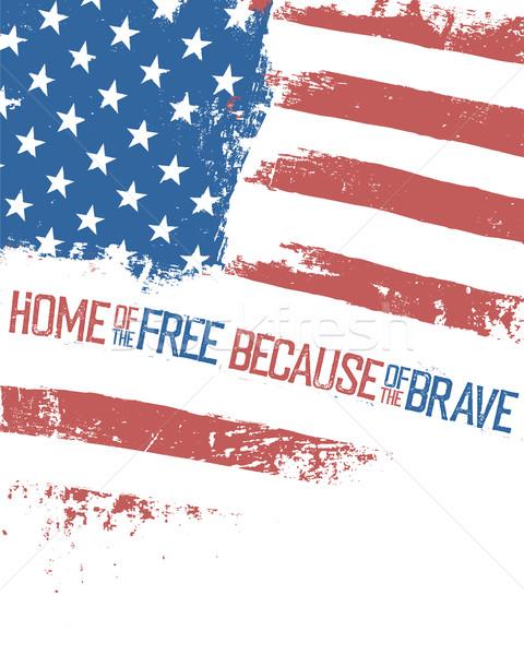 Home libero coraggiosi bandiera americana effetto isolato Foto d'archivio © pashabo