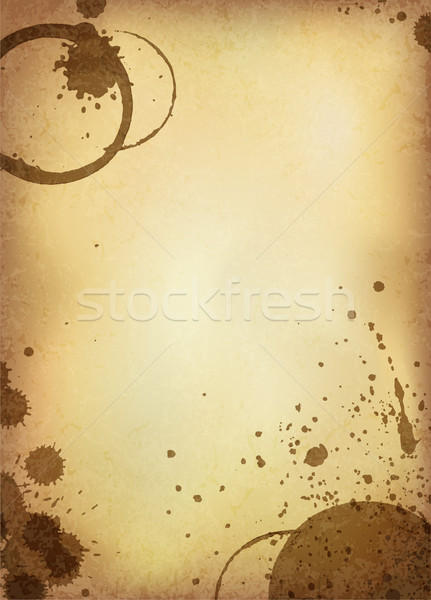 Stock photo: Classic vintage background. Old paper sheet with stains of coffe
