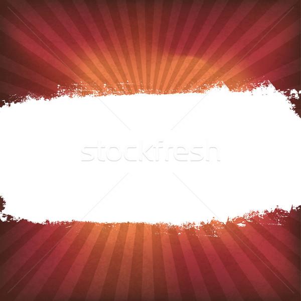 White grunge label on red sunburst background, vector Stock photo © pashabo