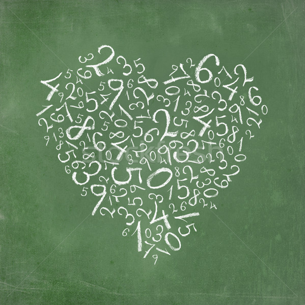 Love of mathematics: heart shaped simple numbers on school-board texture. Stock photo © pashabo