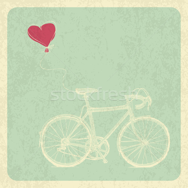 Vintage Valentines Card with Bicycle and Heart Baloon Stock photo © pashabo