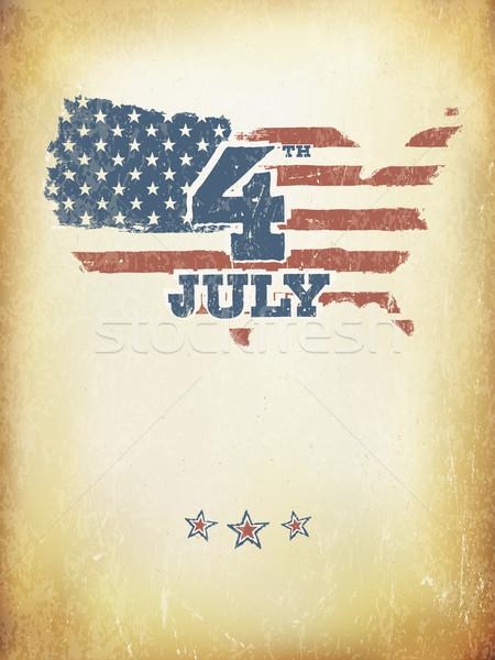 Stockfoto: Grunge · Amerikaanse · vlag · vector · sjabloon · achtergrond