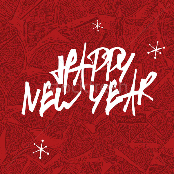 Gelukkig nieuwjaar brieven brandhout gelukkig kaart Stockfoto © pashabo