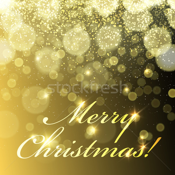 Merry Christmas! Golden Lights Background and snowfall. Vector t Stock photo © pashabo