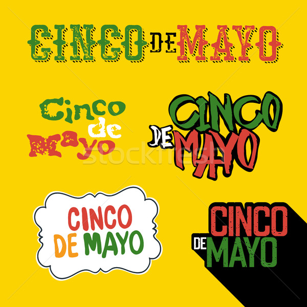Cinco de Mayo badges. Holiday typography design set. Vector Cinc Stock photo © pashabo