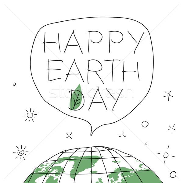 Boldog föld napja szöveglufi szavak Föld zöld levél Stock fotó © pashabo