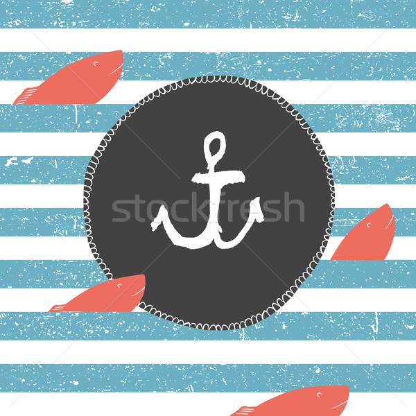 Morskich niebieski linie wzór czerwony ryb Zdjęcia stock © pashabo
