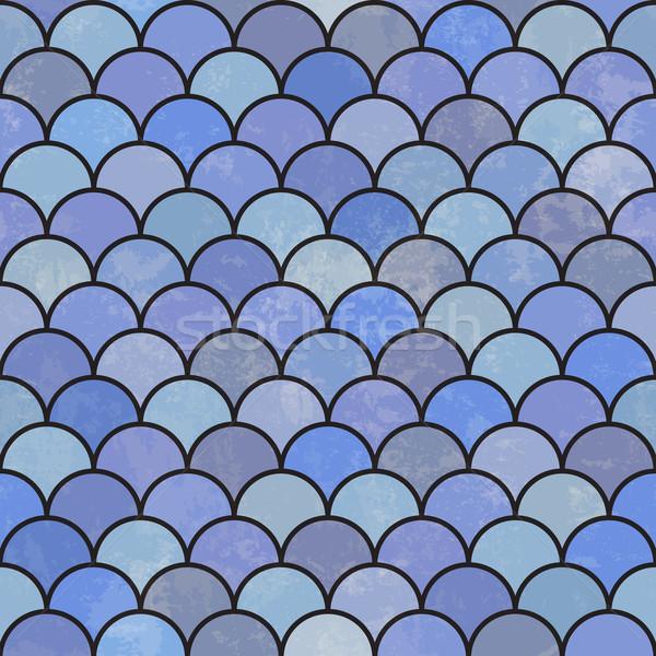 Blue asian fish scale retro pattern. Grunge and seamless. Grunge Stock photo © pashabo