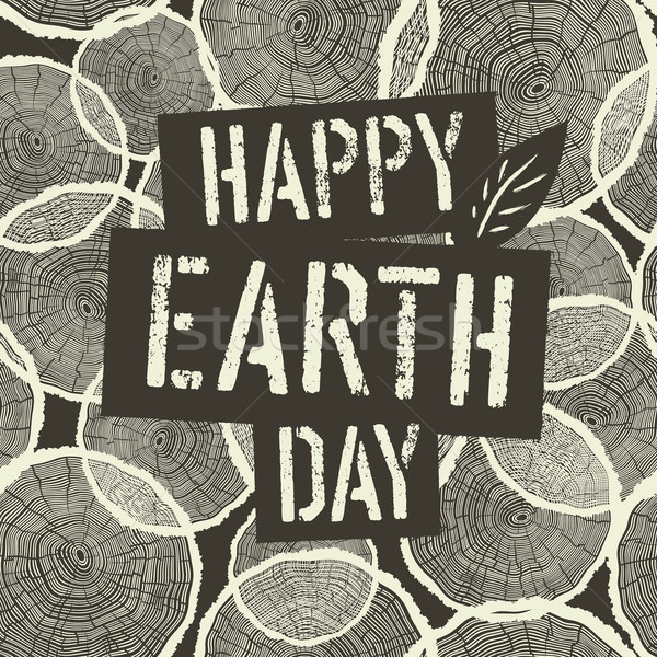 Happy Earth Day Logotype on Tree Rings Seamless Background. Temp Stock photo © pashabo