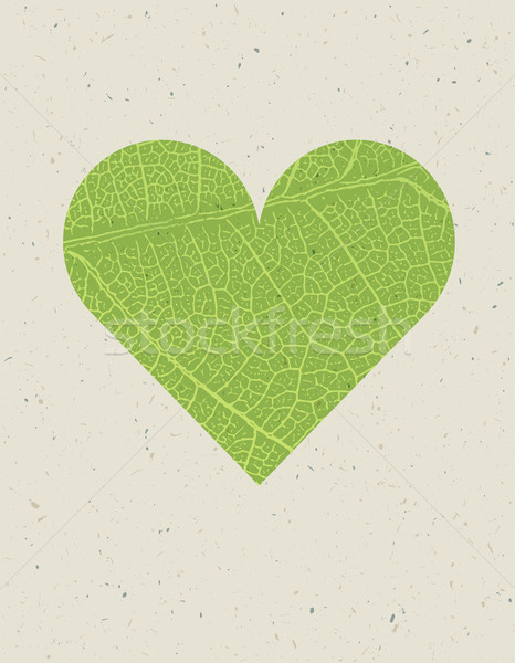Heart shape with green leaf texture. Nature background with free Stock photo © pashabo