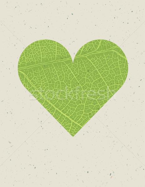 Forma de corazón hoja verde textura naturaleza libre espacio Foto stock © pashabo