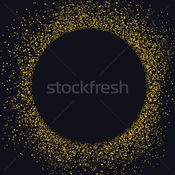 Circle label design template. Circle with gold glitter particles Stock photo © pashabo