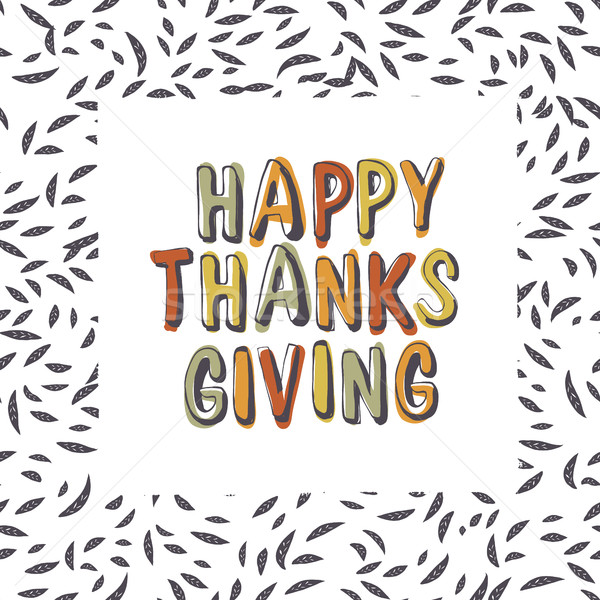 Happy Thanksgiving typography on leaves seamless pattern.Vector  Stock photo © pashabo