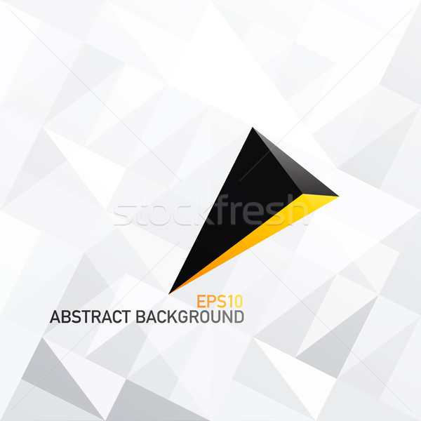 Triangle white abstract background with 3D arrow. Black and Gold Stock photo © pashabo