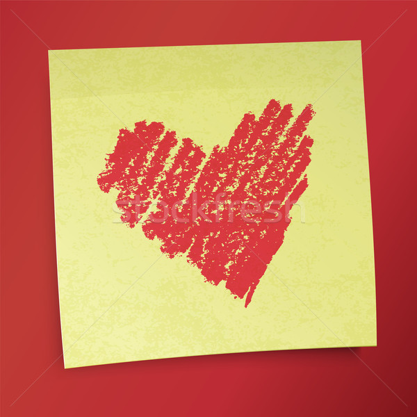 Yellow sticky note with Valentine`s heart. Vector illustration,  Stock photo © pashabo
