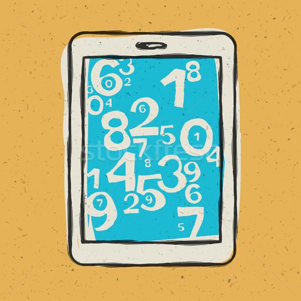 Tabletta berendezés absztrakt számjegyek eps10 üzlet Stock fotó © pashabo