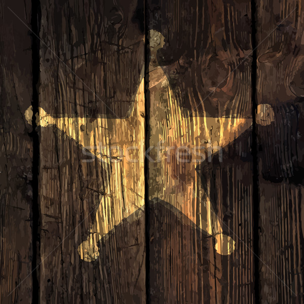 Grunge sheriff star on wooden texture. Stock photo © pashabo