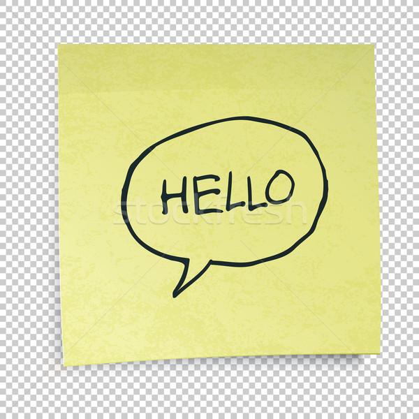 Amarelo notas olá mensagem escritório papel Foto stock © pashabo