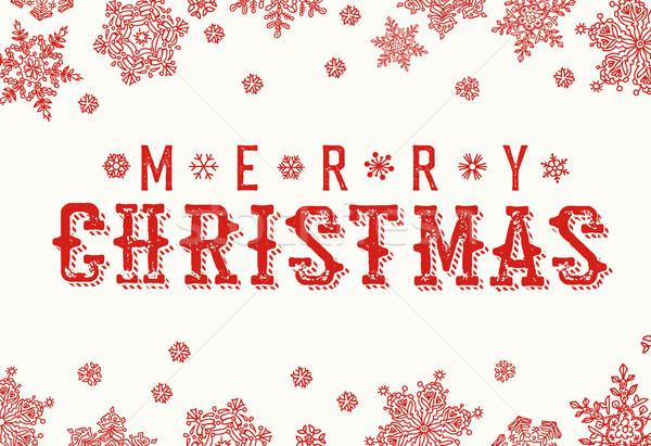 Merry Christmas Vintage Postcard. Snowflake border and xmas typo Stock photo © pashabo
